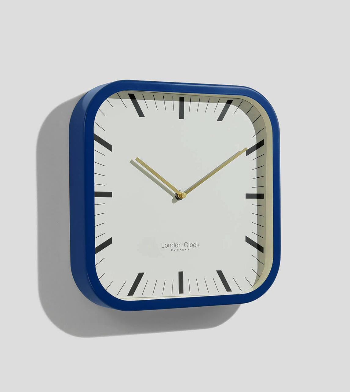 London Clock Square Wall Clock Navy Blue London Clock Company Swoon