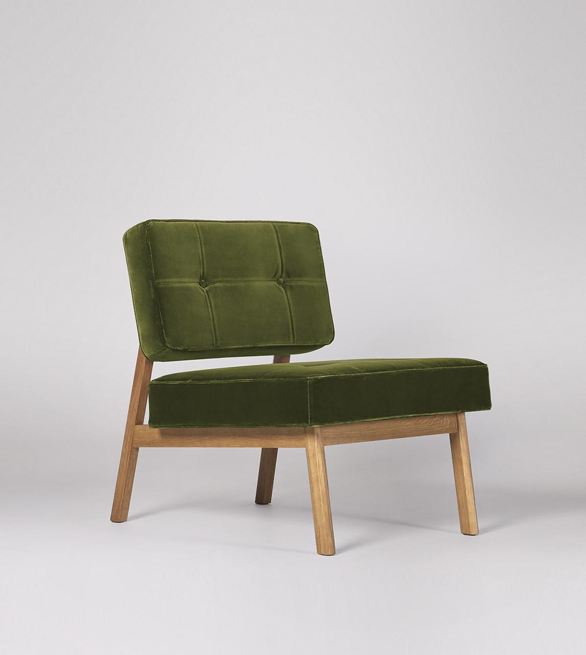 Aron Chair In Fern Easy Velvet With Light Feet Swoon