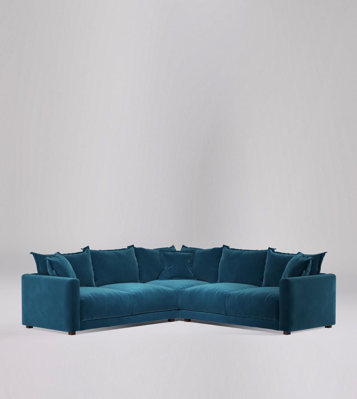 Aurora Corner Sofa In Petrolblue Easy Velvet With Dark Feet Swoon