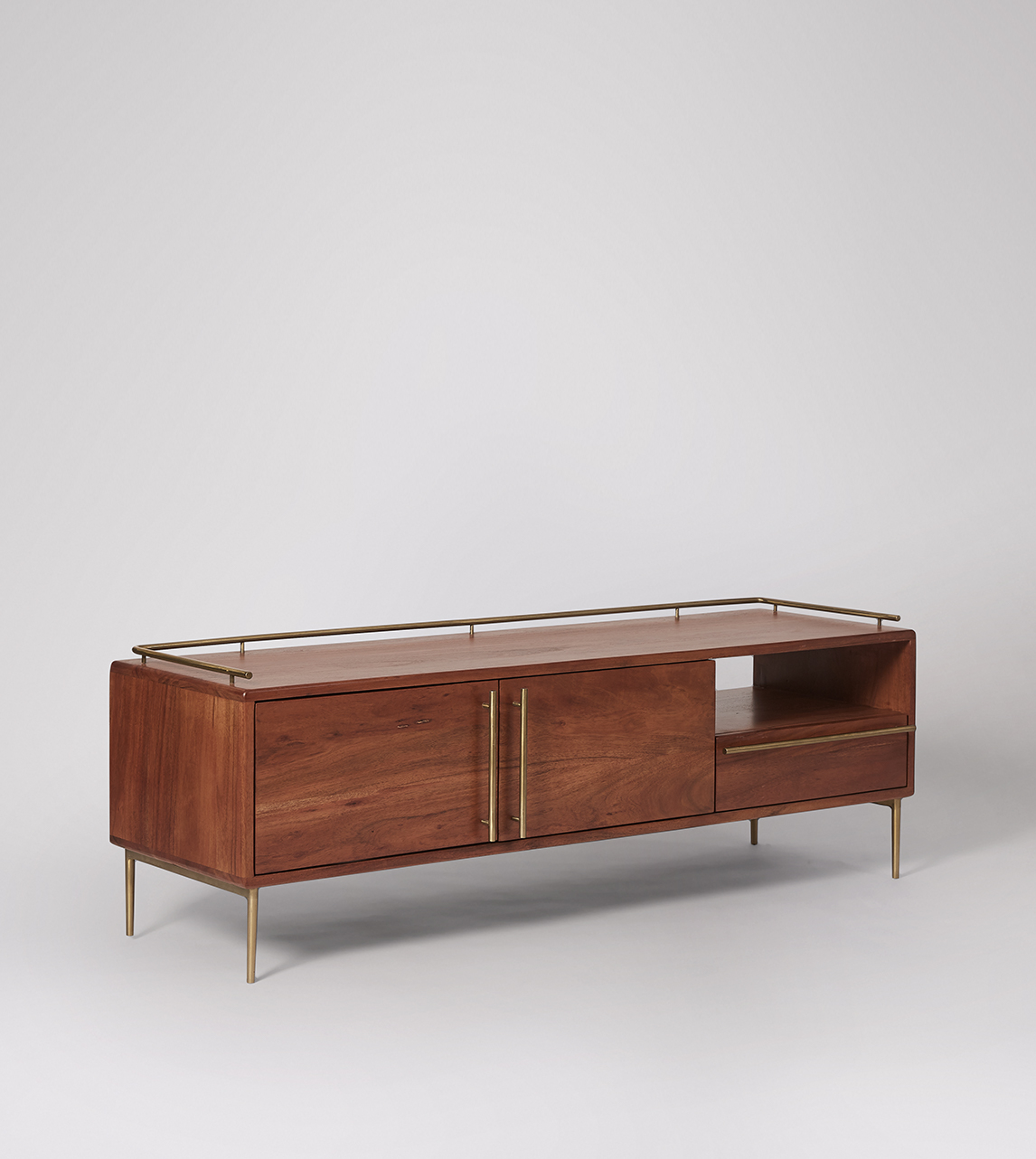 Connaught Art Deco Style Tv Stand In Acacia Brass Swoon