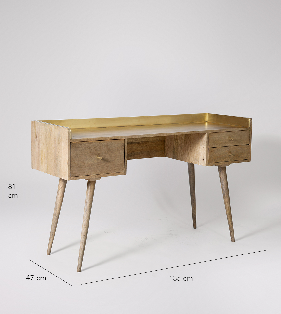 Desk In Natural Oak Stained Mango Wood, American Trails Art Deco Writing Desk