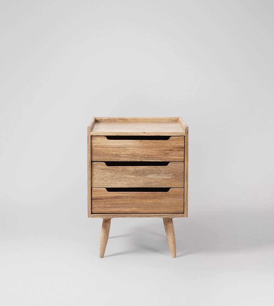 Southwark Scandi Style Bedside Table With Three Drawers In Natural Oak Stained Mango Wood Swoon