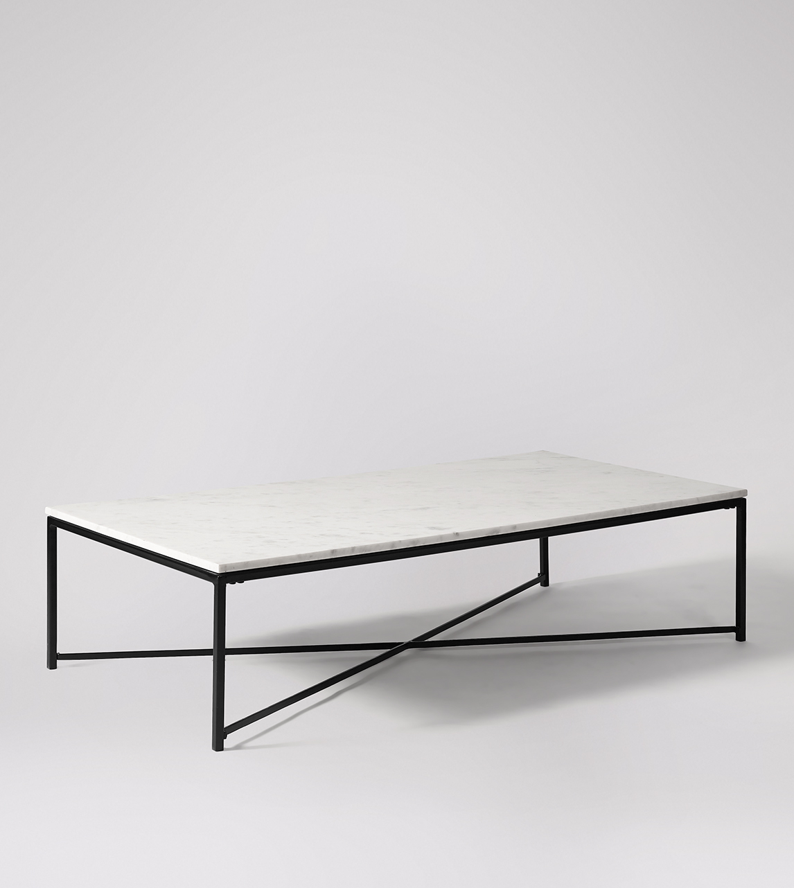 Kir Contemporary Rectangular Coffee Table In Black Steel White Marble Swoon