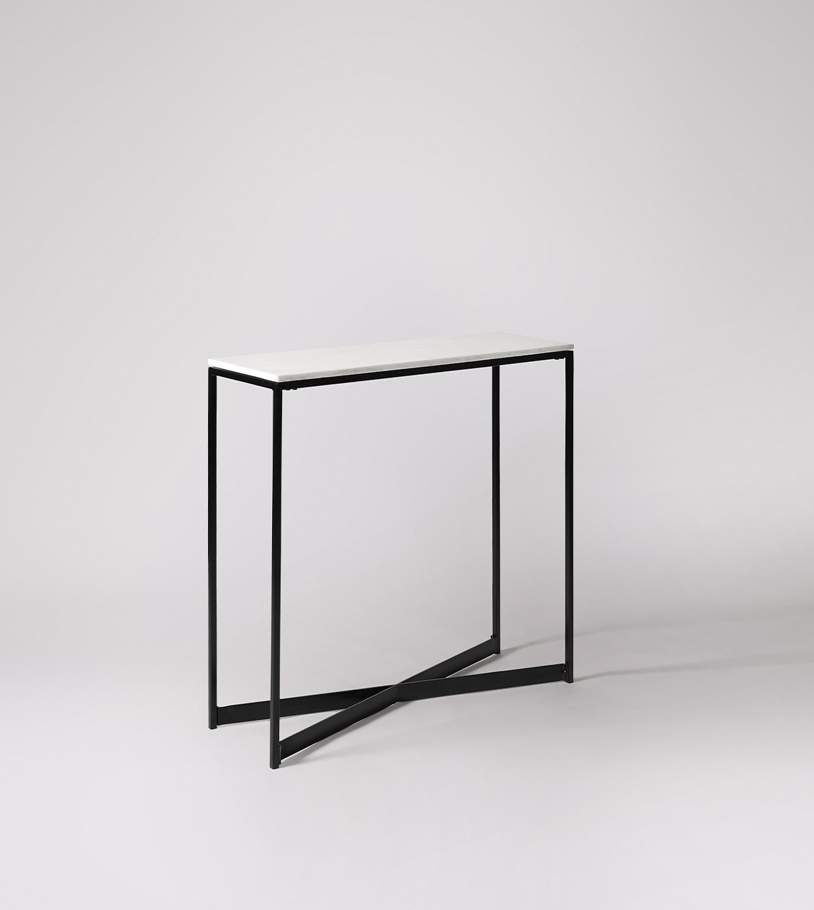 Picture of: Kir Contemporary Style Small Console Table In Black Steel White Marble Swoon