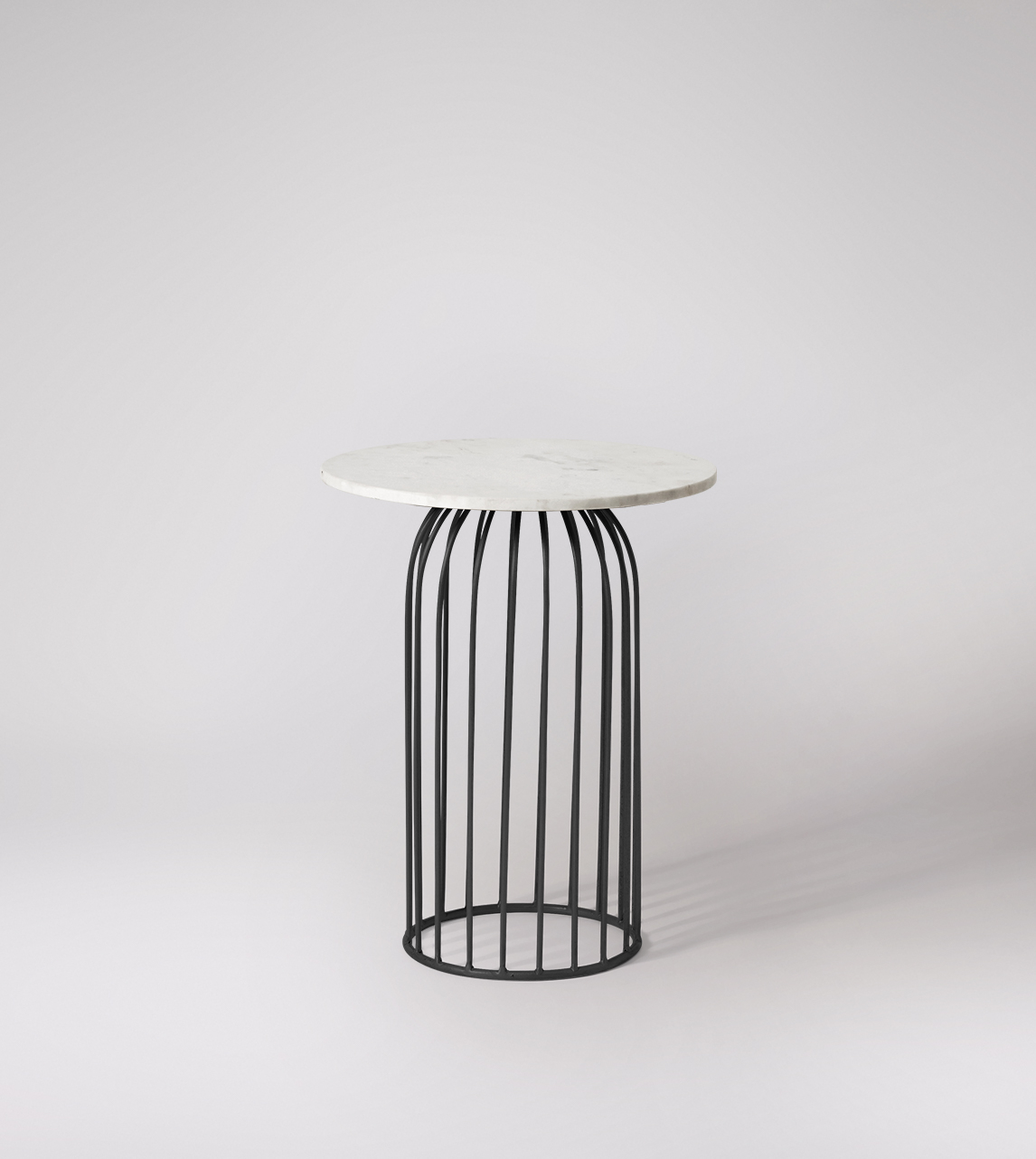 Loriini Deco Style Side Table In Black Steel White Marble Swoon