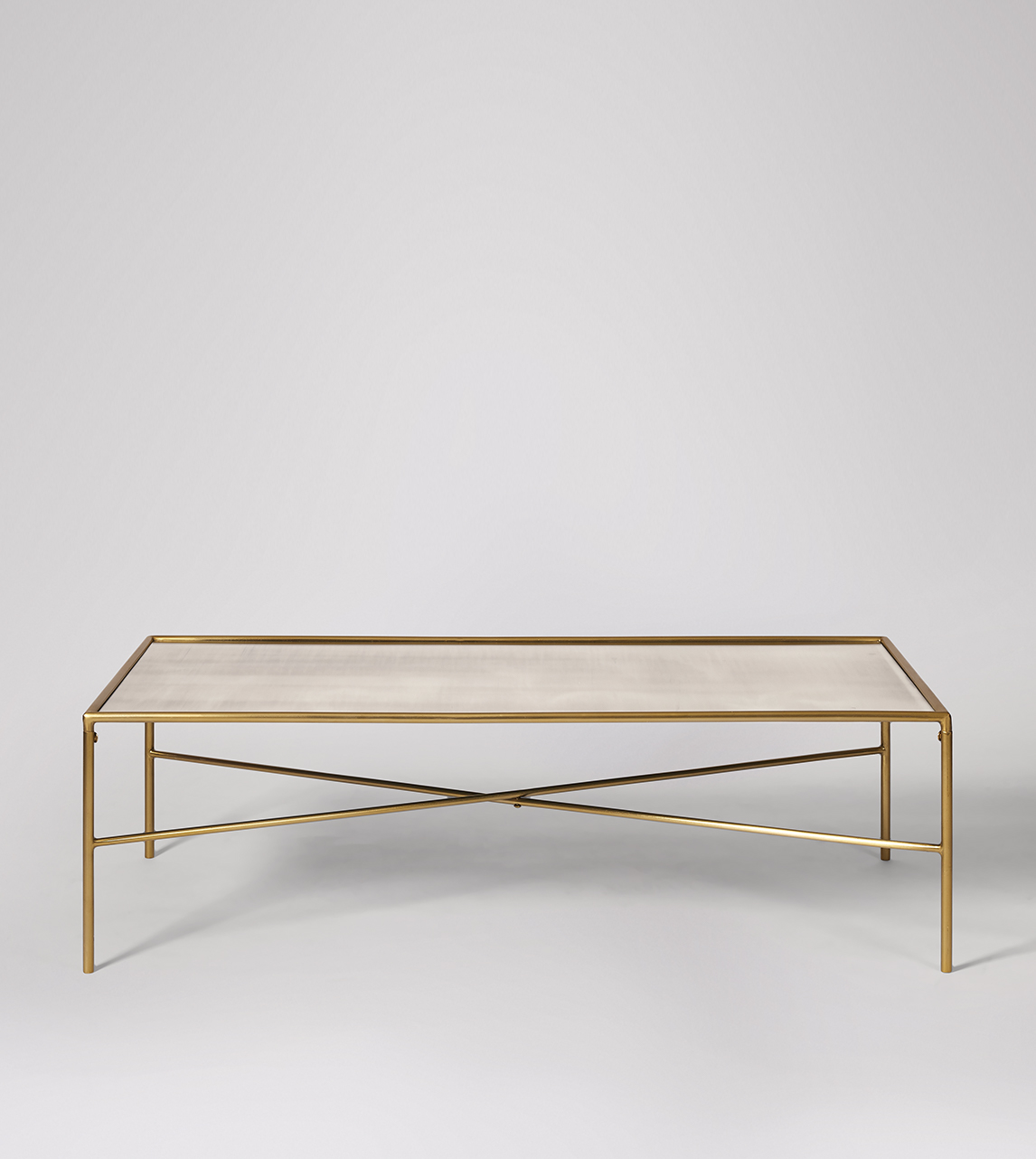 Picture of: Orla Coffee Table Art Deco Style In Shiny Antique Brass Antiqued Mirror Swoon