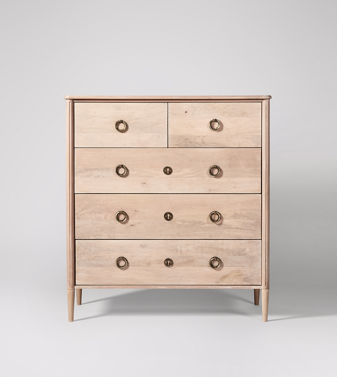 Reyna Scandi Style Five Drawer Chest Of Drawers In Natural Mango Wood Brass Swoon