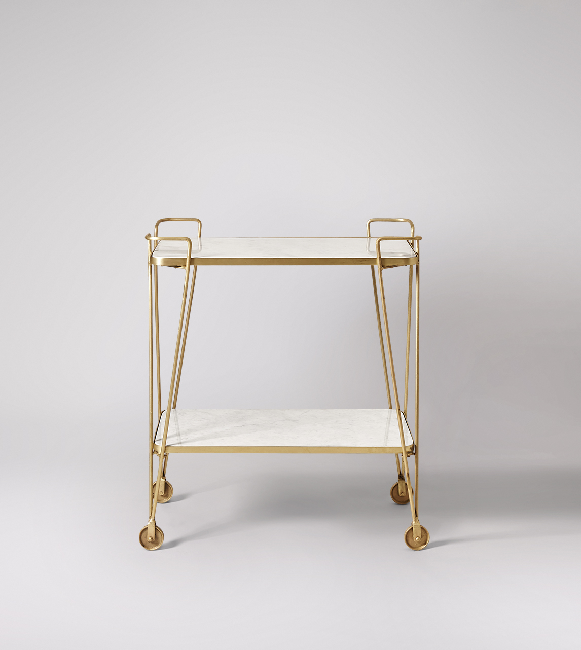 Trolley, Art Deco style in Brass & White Marble | Swoon