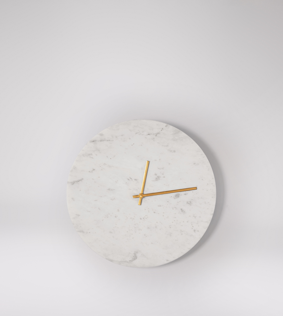 Tempus Deco Style Large Wall Clock In White Marble Brass Swoon