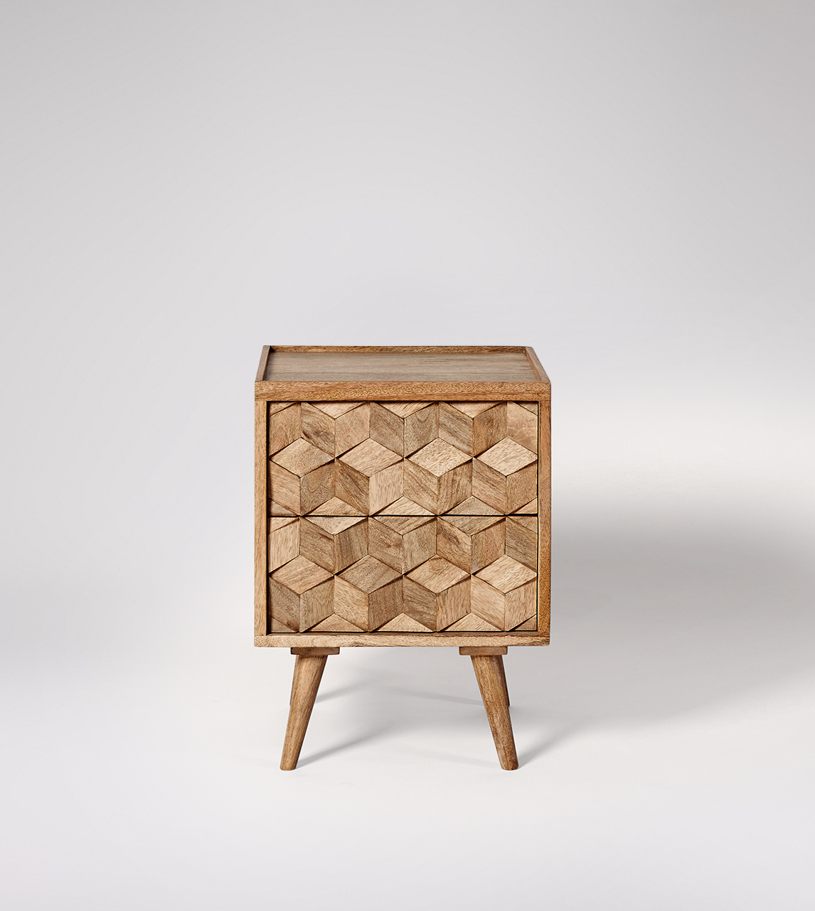 Bedside Table Mid Century Style In Natural Mango Wood