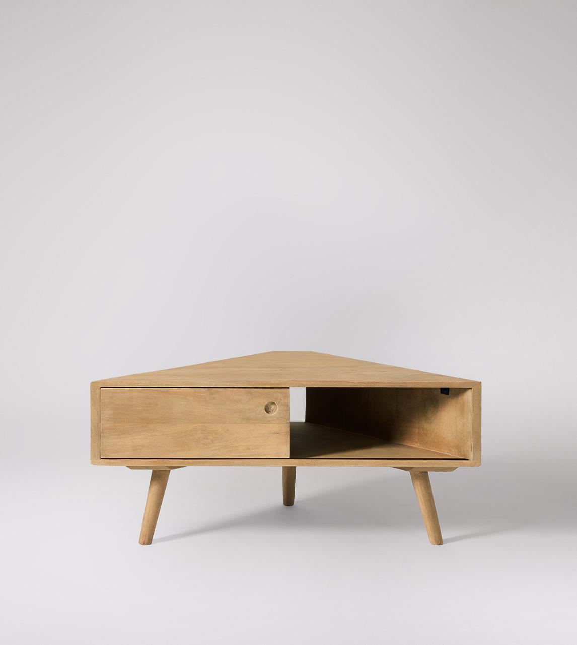 Watson Mid Century Style Corner Tv Stand In Grey Wash Mango Wood Swoon