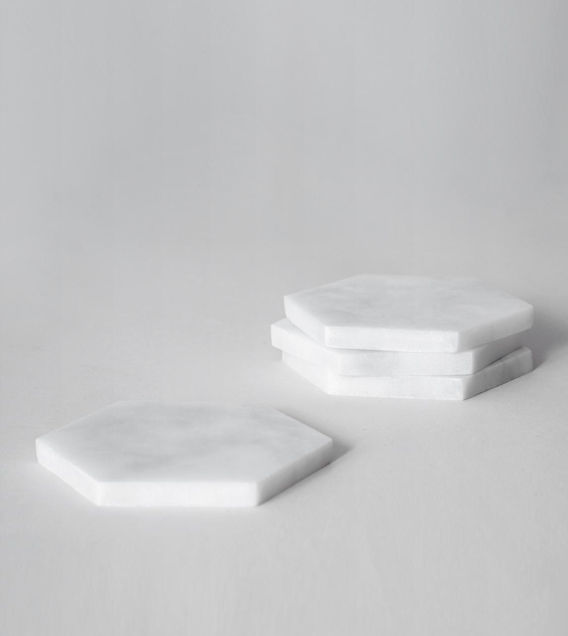 Kiwano Coasters White Marble Kiwano Swoon