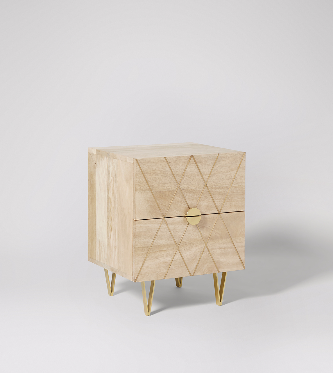 Bedside Table Contemporary Style In Mango Brass